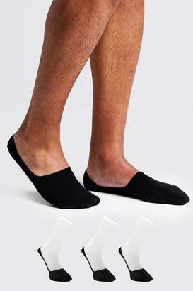 boohoo 3 Pack Invisible Black Socks With Grips