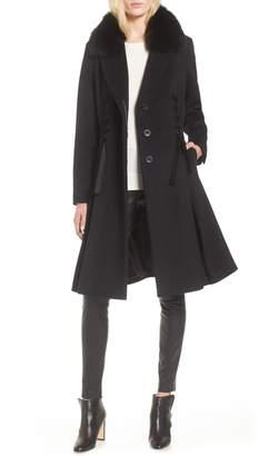 1 Madison Velvet Detail Wool Coat with Genuine Fox Fur Collar