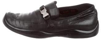 Prada Sport Leather Round-Toe Loafers