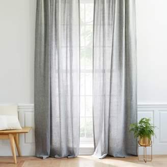 west elm Semi-Sheer Belgian Flax Linen Melange Curtain - Slate