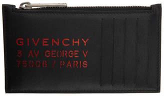Givenchy Black Address Zippered Card Holder