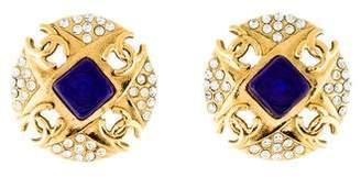 Chanel Gripoix & Crystal Logo Clip-On Earrings