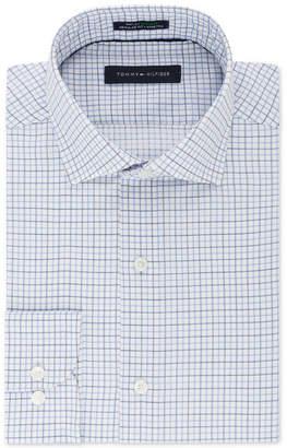 Tommy Hilfiger Men Classic/Regular Fit Th Flex Stretch Non-Iron Blue Check Dress Shirt