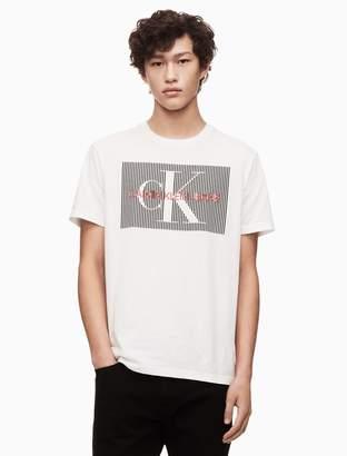 Calvin Klein striped monogram logo crewneck t-shirt