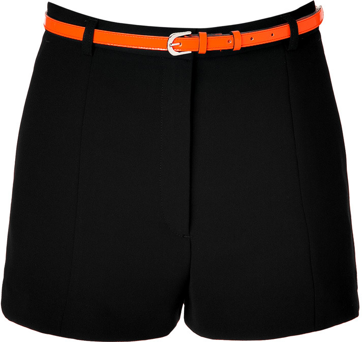 Sandro Black Front Pleated Shorts with Neon Belt