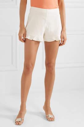 Alice + Olivia Alice Olivia - London Ruffled Linen-blend Shorts - White