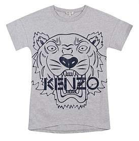 Kenzo Girls Tiger Sweat Dress Grey Marl