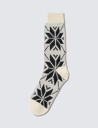 Tabio Mens Wool Mixed Snow Pattern Socks