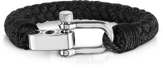 Forzieri Black Woven Rope Men's Bracelet