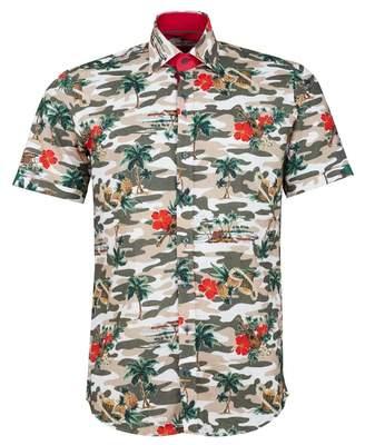 BEIGE Claudio Lugli Palm Print Short Sleeved Shirt Colour: BEIGE, Size: MEDI