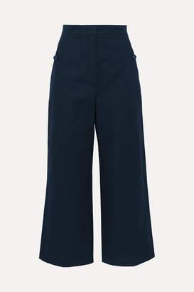 Max Mara Cotton And Linen-blend Canvas Wide-leg Pants - Navy