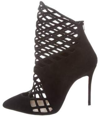 Christian Louboutin Laser Cut Pointed-Toe Booties Black Laser Cut Pointed-Toe Booties