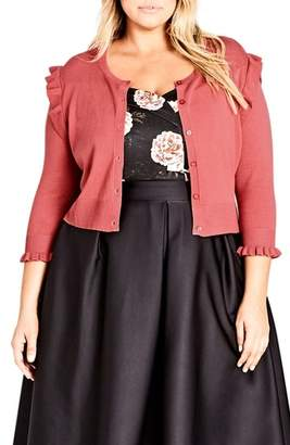 City Chic Frill Ride Cardigan