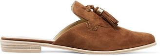 Stuart Weitzman - Slidealong Tasseled Suede Slippers - Tan $400 thestylecure.com