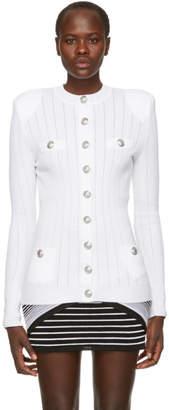 Balmain White Button Up Cardigan
