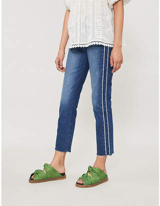 Paige Hoxton striped-side straight cropped high-rise jeans
