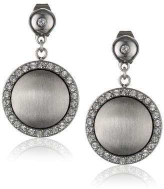 Stainless Steel Rhodium-Plated Satin Finish Round Crystal Earrings