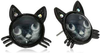 Betsey Johnson Women's Creepshow Cat Stud Earrings Stud Earrings