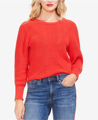 Vince Camuto Cotton Laced-Back Sweater