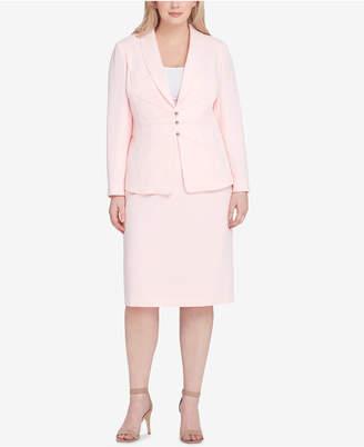 Tahari ASL Plus Size Shawl-Collar Starburst Skirt Suit