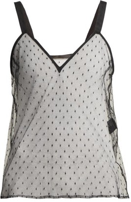 Haider Ackermann V Neck Polka Dot Lace Cami Top - Womens - Black
