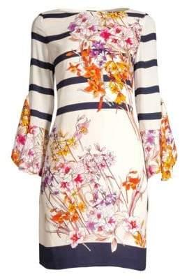 Elie Tahari Ula Riviera Floral Boatneck Dress