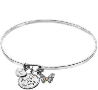 """Hallmark Two Tone 18k Gold Over Silver Cubic Zirconia """"Mom"""" & Butterfly Charm Bangle Bracelet"""