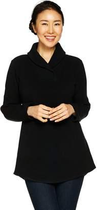 5644ec73725 Petite Shawl Collar Long Sleeve Fleece Tunic