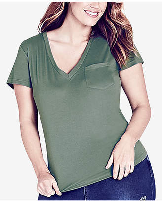 City Chic Trendy Plus Size V-Neck Pocket Top