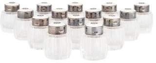 Set of 14 Danish Sterling Silver & Glass Salt & Pepper Shakers
