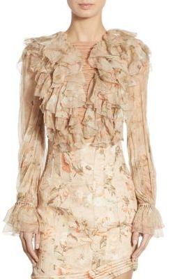 Zimmermann Bowerbird Ruffled Lace-Up Silk Bell Sleeve Blouse $1,150 thestylecure.com