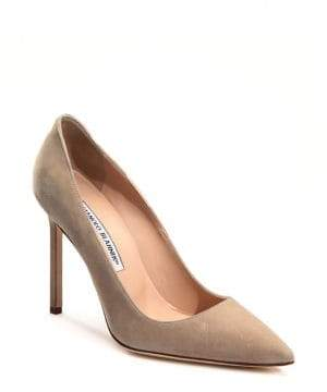 Manolo Blahnik Women's BB 105 Suede Point Toe Pumps - Beige - Size 35.5 (5.5)