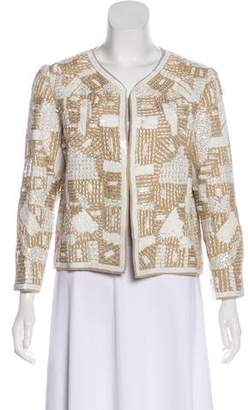 Oscar de la Renta Embroidered Long Sleeve Blazer