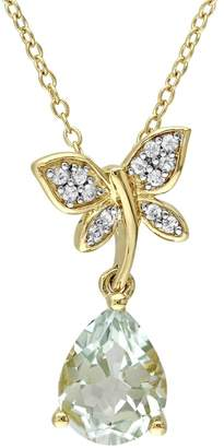Laura Ashley Sterling Silver Green Quartz & White Sapphire Dragonfly Pendant Necklace $600 thestylecure.com