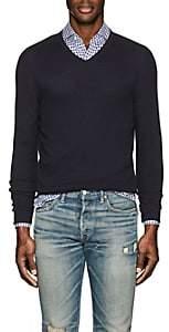 Loro Piana Men's Textured Cotton-Blend V-Neck Sweater-Navy