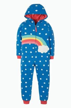 Next Girls Frugi Organic Blue Rainbow Warm Cotton Onesie