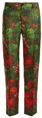 F.r.s - For Restless Sleepers - Tartaro Rose Print Silk Trousers - Womens - Green Print