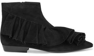 J.W.Anderson Ruffled Suede Ankle Boots - Black