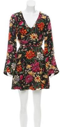 Cinq à Sept Silk Printed Long Sleeve Mini Dress