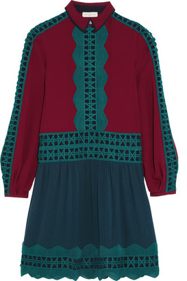 Tory Burch - Brodie Lace-trimmed Silk-georgette Dress - Burgundy $595 thestylecure.com