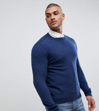Asos DESIGN TALL Crew Neck Cotton Sweater In Navy