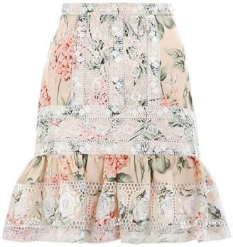 Zimmermann Prima Hydrangea Skirt in Peach Floral