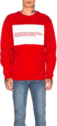 Calvin Klein Est. 1978 Logo Crew Neck in Red & White | FWRD