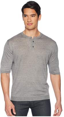 Eleventy Short Sleeve Linen Henley Men's T Shirt