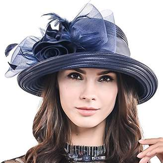 53c3ab5b54 Church s HISSHE Women Kentucky Derby Dress Wedding Party Feather Bucket Hat  S608-A