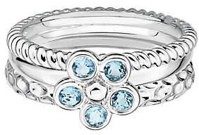 Simply Stacks Sterling Blue Topaz Flower Ring Set