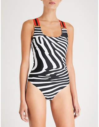 P.E Nation Ten Laps zebra-print swimsuit
