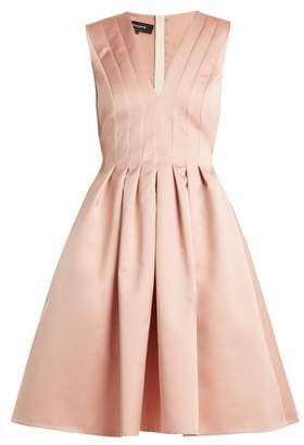 Rochas V Neck Pleated Duchess Satin Dress - Womens - Light Pink