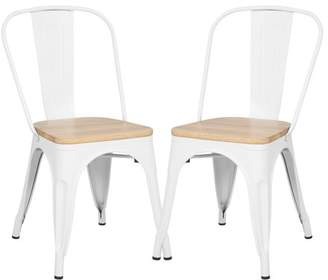 Poly and Bark Trattoria Side Chair in with Oak Seat in White (Set of 2)