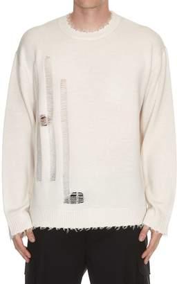 Helmut Lang Distressed Logo Crew Neck Sweater